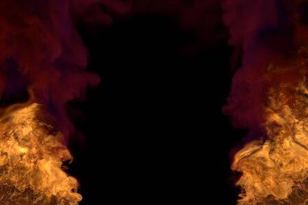 mystical melting wild fire on black, frame with dense smoke - fire from picture left and right corners - fire 3D illustration