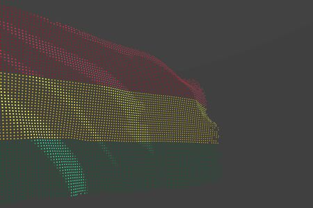 pretty digital photo of Bolivia isolated flag made of glowing dots wave on grey background - any feast flag 3d illustration