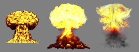 3 large very high detailed different phases mushroom cloud explosion of hydrogen bomb with smoke and fire isolated on grey - 3D illustration of explosion 版權商用圖片