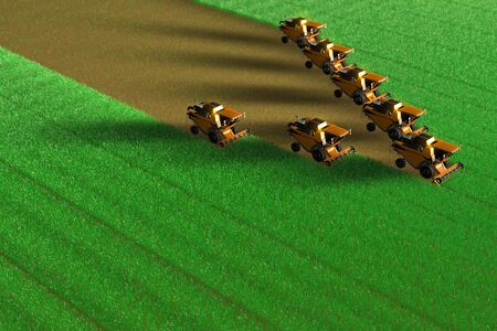 Many yellow grain agricultural harvesters work on huge green field - top view in aero photo style, industrial 3D illustration Archivio Fotografico - 130119025