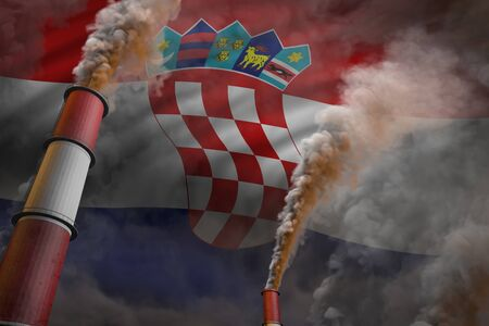 Croatia pollution fight concept - two large plant chimneys with heavy smoke on flag background, industrial 3D illustration