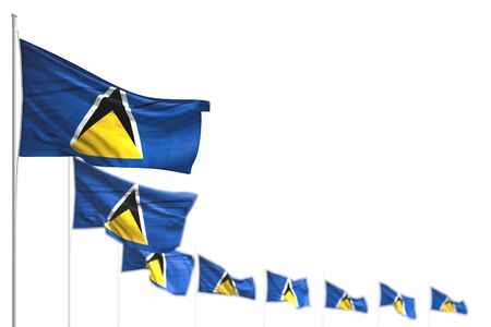 nice Saint Lucia isolated flags placed diagonal, image with selective focus and place for content - any occasion flag 3d illustration
