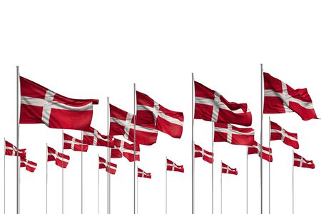 wonderful independence day flag 3d illustration  - many Denmark flags in a row isolated on white with free space for content