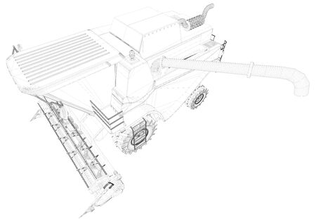 Thin contoured, detailed 3D scheme of agricultural combine harvester with harvest pipe isolated, agriculture vehicle innovation concept - industrial 3D illustration Archivio Fotografico - 130119108