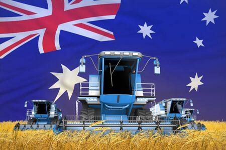 industrial 3D illustration of 4 light blue combine harvesters on grain field with flag background, Australia agriculture concept Imagens