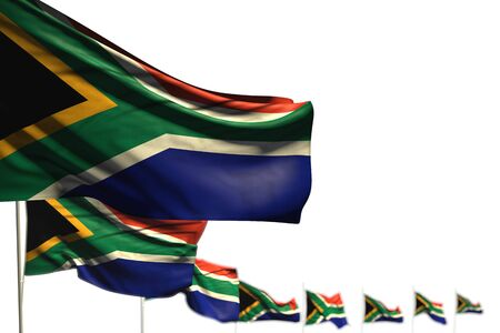 cute day of flag 3d illustration  - South Africa isolated flags placed diagonal, illustration with soft focus and space for your text Banco de Imagens