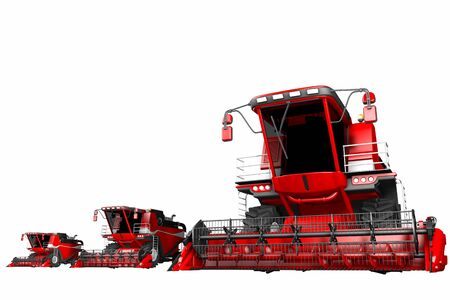 3 red wheat agricultural harvesters isolated on white background - farm machine, industrial 3D illustration Banque d'images - 130119203