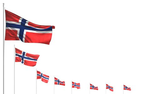 beautiful many Norway flags placed diagonal isolated on white with place for text - any feast flag 3d illustration Banco de Imagens