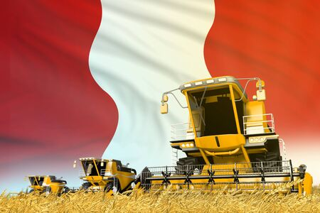 yellow rural agricultural combine harvester on field with Peru flag background, food industry concept - industrial 3D illustration Archivio Fotografico - 130119219