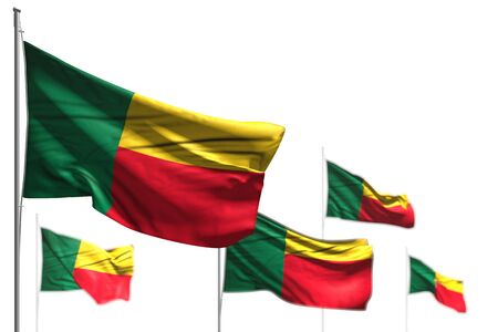 pretty five flags of Benin are waving isolated on white - illustration with soft focus - any celebration flag 3d illustration Banco de Imagens