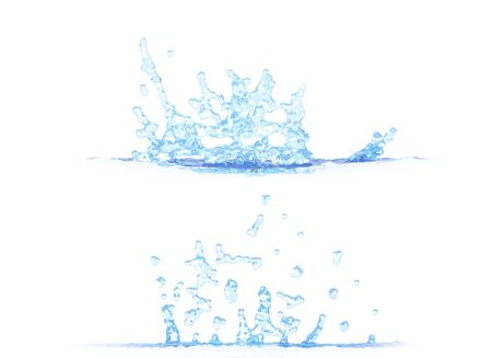 two side views of nice water splash - 3D illustration, mockup isolated on white - for design purposes