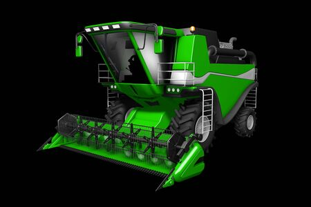 huge cg green rye agricultural combine harvester front view isolated on black - industrial 3D illustration Archivio Fotografico - 130119334