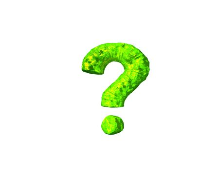 question mark in space style isolated on white background - lime slime font, 3D illustration of symbols Stock Photo