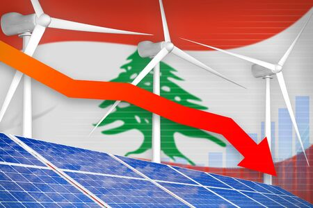 Lebanon solar and wind energy lowering chart, arrow down  - renewable energy industrial illustration. 3D Illustration
