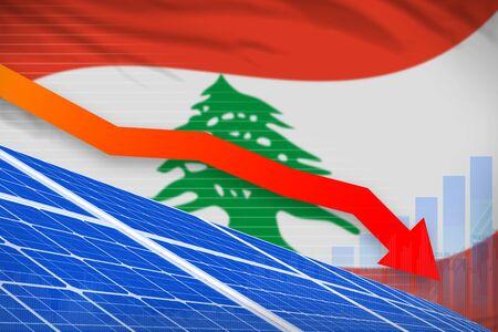 Lebanon solar energy power lowering chart, arrow down  - environmental energy industrial illustration. 3D Illustration