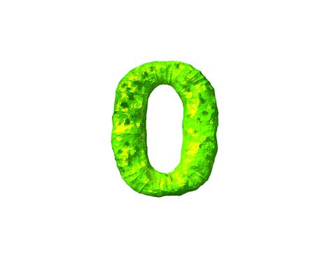 number 0 in monstrous style isolated on white background - lime alien flesh alphabet, 3D illustration of symbols Фото со стока