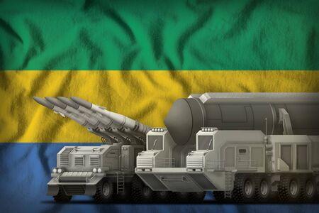 rocket forces on the Gabon flag background. Gabon rocket forces concept. 3d Illustration