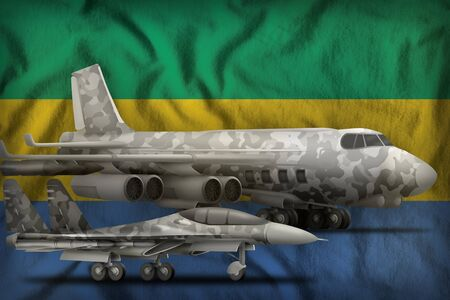 air forces with grey camouflage on the Gabon flag background. Gabon air forces concept. 3d Illustration