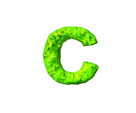letter C in alien style isolated on white background - toxic jelly font, 3D illustration of symbols 写真素材