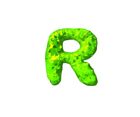 letter R in monstrous style isolated on white background - toxic alien flesh alphabet, 3D illustration of symbols