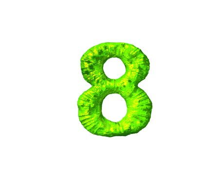 number 8 in alien style isolated on white background - toxic jelly alphabet, 3D illustration of symbols