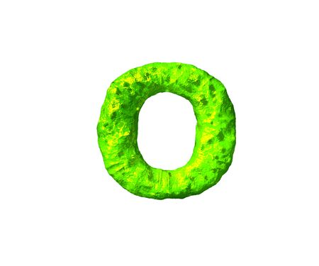 green slime alphabet - letter O in cosmic style isolated on white background, 3D illustration of symbols