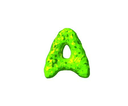 lime slime alphabet - letter A in monstrous style isolated on white background, 3D illustration of symbols
