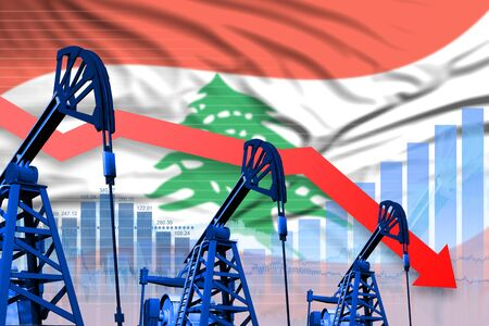 Lebanon oil industry concept, industrial illustration - lowering, falling graph on Lebanon flag background. 3D Illustration