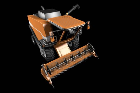 big modern orange rural agricultural harvester with grain pipe detached front top view isolated on black - industrial 3D illustration Archivio Fotografico - 130119511