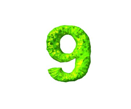 lime alien flesh alphabet - number 9 in alien style isolated on white background, 3D illustration of symbols Фото со стока
