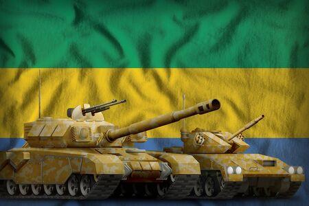 tanks with orange camouflage on the Gabon flag background. Gabon tank forces concept. 3d Illustration