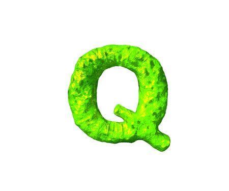 toxic slime alphabet - letter Q in alien style isolated on white background, 3D illustration of symbols Фото со стока