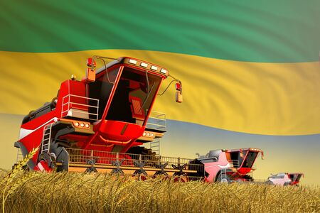 industrial 3D illustration of agricultural combine harvester working on rural field with Gabon flag background, food production concept Archivio Fotografico - 130119586