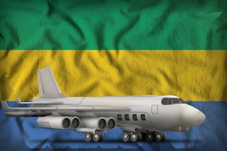 bomber on the Gabon flag background. 3d Illustration