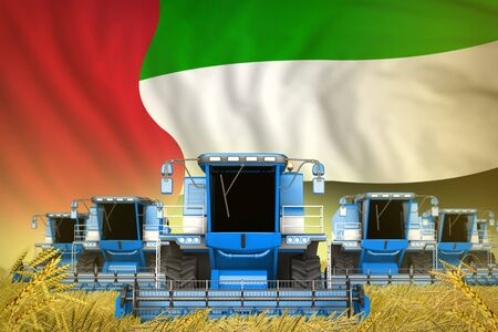 industrial 3D illustration of some blue farming combine harvesters on farm field with United Arab Emirates flag background - front view, stop starving concept Banque d'images - 130119594