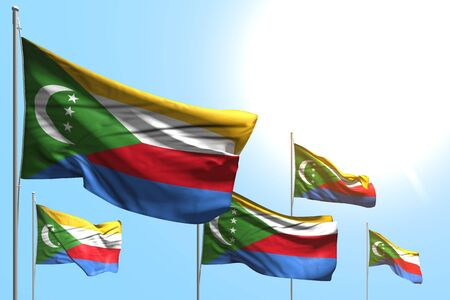 pretty any celebration flag 3d illustration  - 5 flags of Comoros are waving on blue sky background