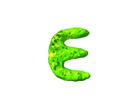 letter E in space style isolated on white background - green alien flesh font, 3D illustration of symbols 写真素材