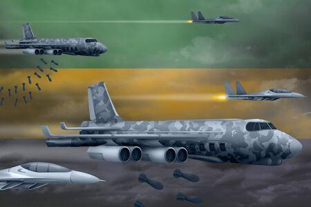 Gabon bomb air strike concept. Modern Gabon war airplanes bombing on flag background. 3d Illustration