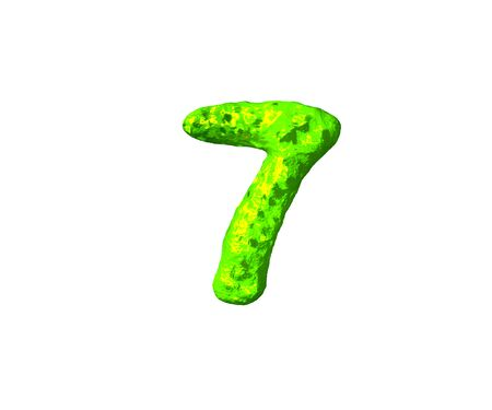 lime jelly font - number 7 in cosmic style isolated on white background, 3D illustration of symbols