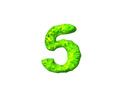 lime jelly alphabet - number 5 in space style isolated on white background, 3D illustration of symbols