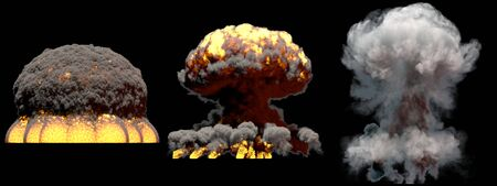 3 huge different phases fire mushroom cloud explosion of super bomb with smoke and flames isolated on black background - 3D illustration of explosion Stock fotó - 130119605