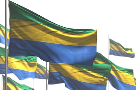 pretty many Gabon flags are waving isolated on white - illustration with soft focus - any feast flag 3d illustration