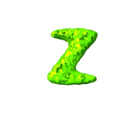letter Z in monstrous style isolated on white background - green jelly font, 3D illustration of symbols