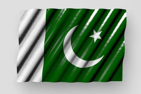 wonderful shining flag of Pakistan with large folds lying flat isolated on grey - any celebration flag 3d illustration