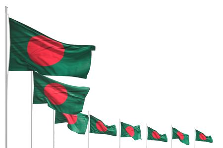 beautiful independence day flag 3d illustration  - many Bangladesh flags placed diagonal isolated on white with space for text Banco de Imagens