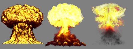 3 large very high detailed different phases mushroom cloud explosion of nuclear bomb with smoke and fire isolated on grey - 3D illustration of explosion Stock fotó - 130119673
