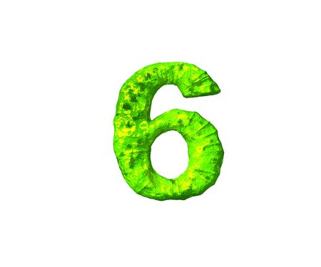 number 6 in monstrous style isolated on white background - toxic alien flesh alphabet, 3D illustration of symbols