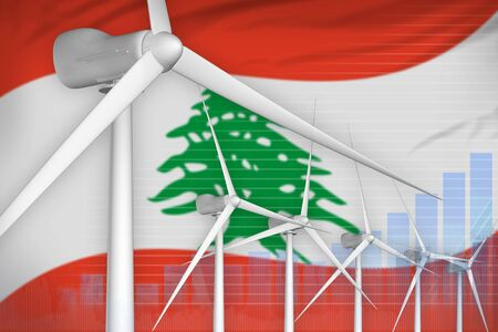 Lebanon wind energy power digital graph concept  - green energy industrial illustration. 3D Illustration Фото со стока