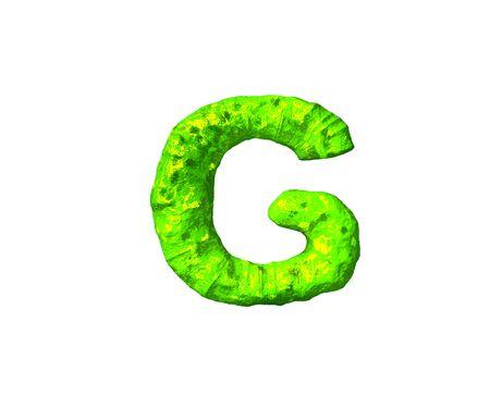 green alien flesh alphabet - letter G in alien style isolated on white background, 3D illustration of symbols