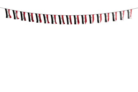 cute many Syrian Arab Republic flags or banners hanging on rope isolated on white - any celebration flag 3d illustration